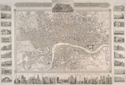 Plan of London from actual survey with all the railroads and improvements. To the present time (1851)